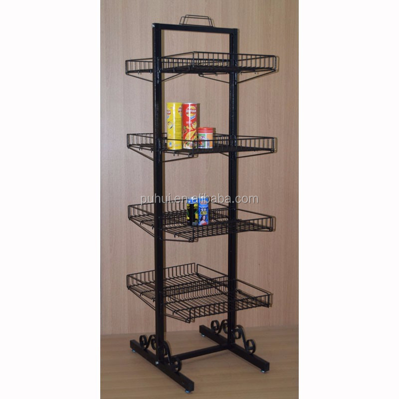 store merchandise items storage retail display double sides multi layer adjustable floor metal wire shelving stand