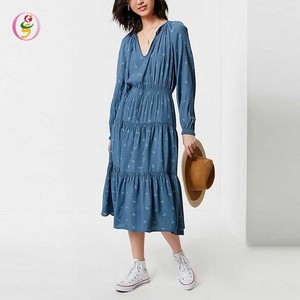 long maxi dresses long sleeve women lady muslim fashion V neckline pleated boho dress woman dress summer 2018