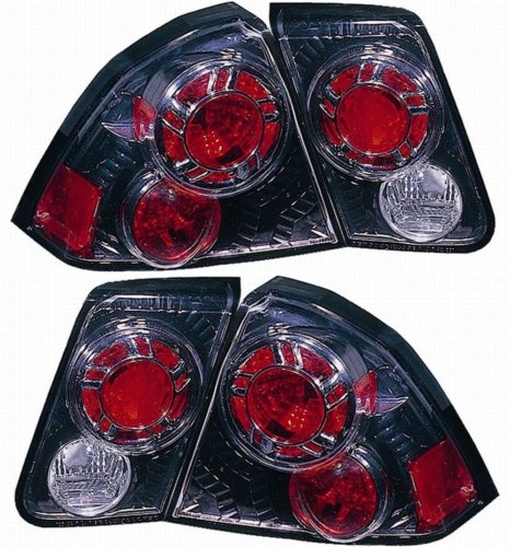 Honda Civic Sedan Replacement Tail Light Assembly (Inner and Outer, Gun Metal) - 1-Pair