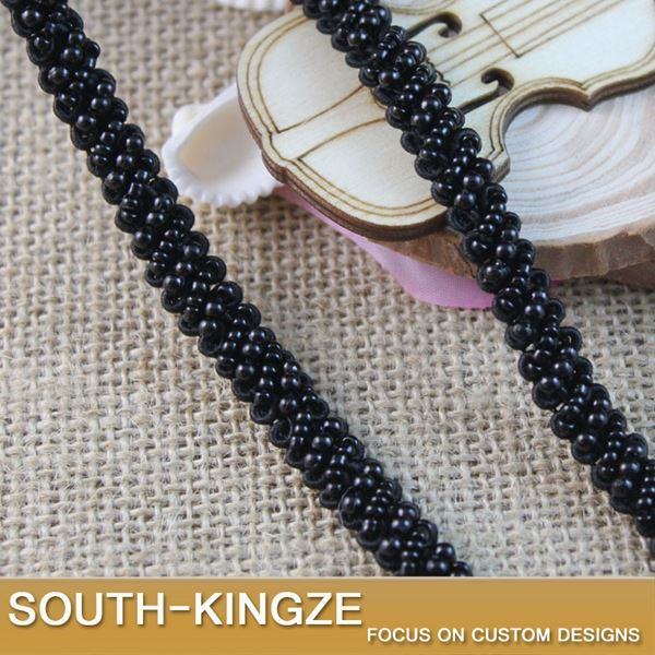 Black Bead lace trim for wedding dress decoration ,Width 1 Cm ,sequin beading lace trim ,5 Yds a lotYC