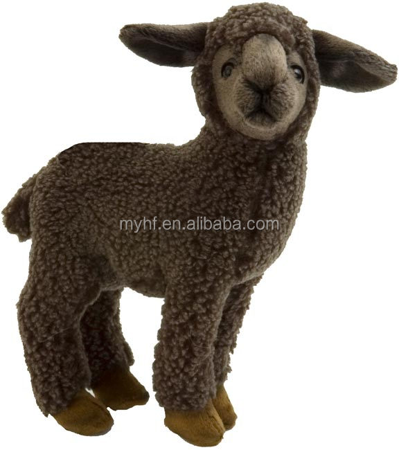 Relastic animal toys dark brown fur shu plush sheep plush toy