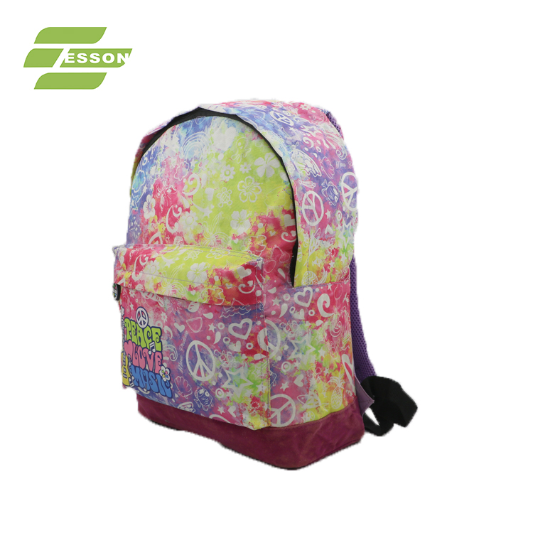 2018 New Design New Printing 600D/PVC school Backpack