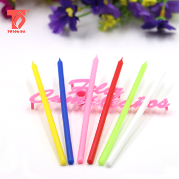 55 Inch Long Colorful Pillar Birthday Candle With Flower Plastic Holders