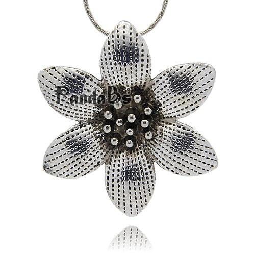 Tibetan Style Alloy Pendants, Vintage Flower Pendants for Necklace Making, Plum Blossom, Antique Silver, 49.5x49.5x5.5mm, Hole: