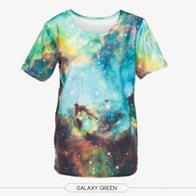 wholesale polyester promotional 3d digital print unisex starty green galaxy print sublimation t shirt