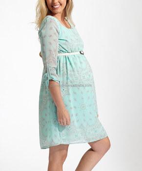 c318bac46 Último diseño vestido pinkblush verde menta Paisley con cinturón ropa de  maternidad embarazada ropa vientre Z