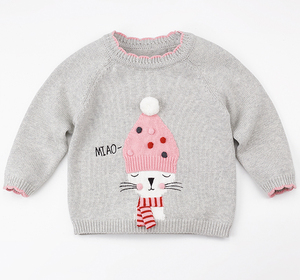 girls cotton cashmere sweater with polar fleece decoration