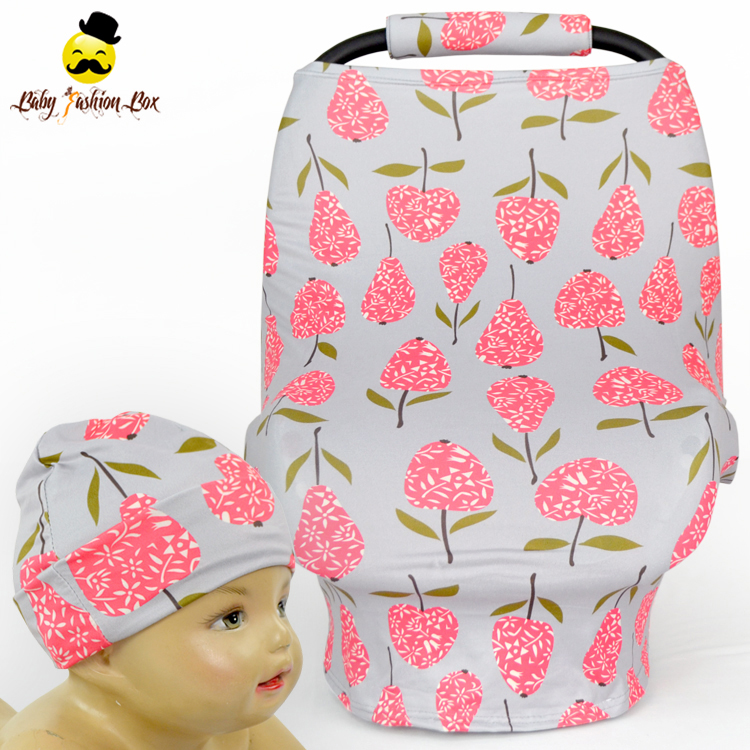 Wholesale Baby Printed Flowers Muti-purpose Nursing Cover Newborn Super Breathable Baby Car Seat Cover Canopy With Hat