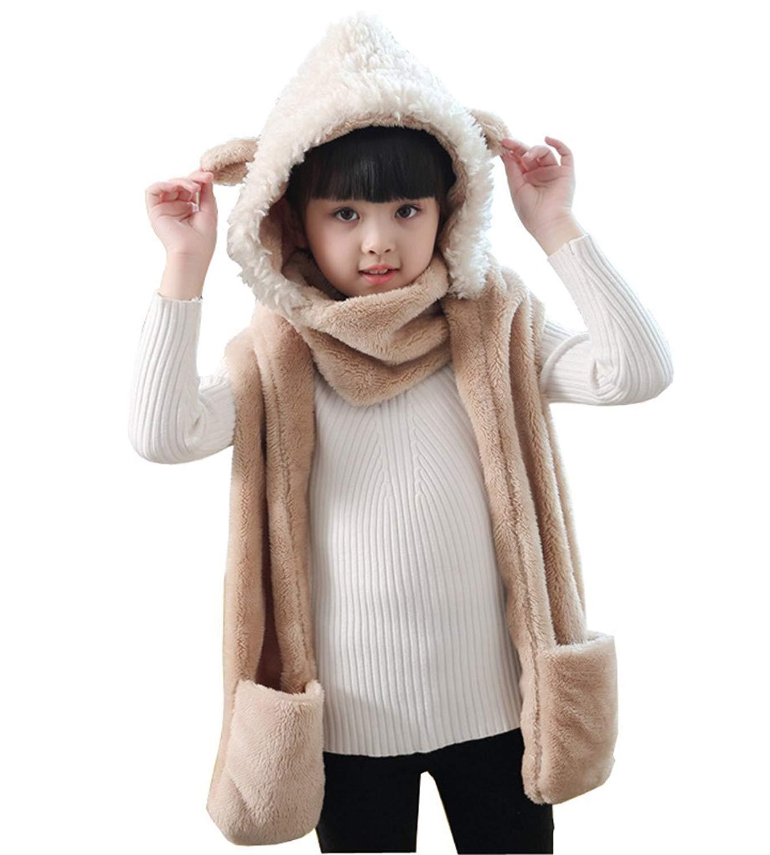 49cef75f0a2 Kids Toddler Cartoon Fleece Hat Gloves Scarf 3 In 1 Set Girls Boys Winter  Cute Warm Long Hoodie Earflap Hat Snood Wraps Children Baby Plush Novelty  Scarf ...