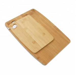 2-Piece Bamboo Serving and Cutting Board Set for Food Preparation kitchen Reversible Chopping Board w.hanging hole