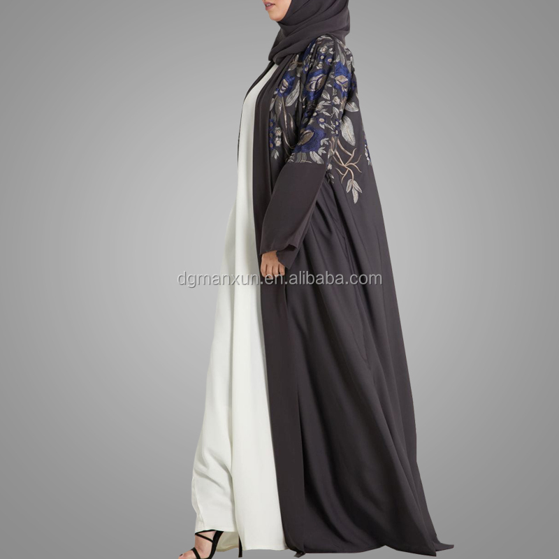 New Embroidery Muslim Abaya Top Quality Women Kimono Clothing Fashion Style Front Open Dubai Abaya