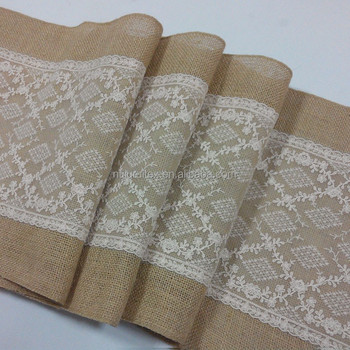 Burlap and lace table runner hessian table runner for rustic wedding burlap and lace table runner hessian table runner for rustic wedding decoration junglespirit Image collections