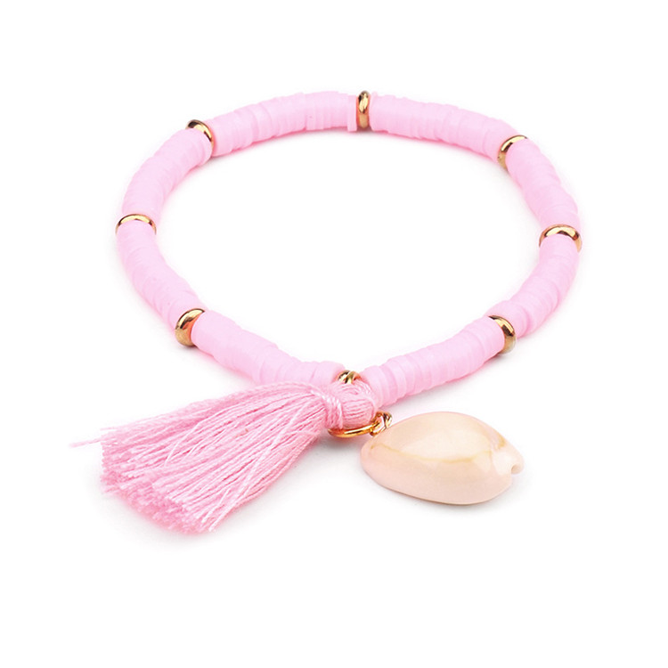 Trendy Colorful Bohemia Elastic Natural Resin Charm Beach Tassel Rope Sea Shell Bracelets For Women Jewelry Holiday Gifts