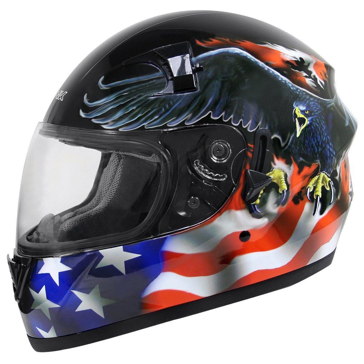 da6813b7 Hawk ST-1150 Glossy Dual Visor Full Face Motorcycle Helmet with U.S. Flag  and E