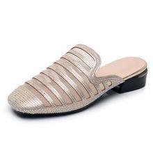 Женские шлепанцы с закрытым носком GKTINOO, модные сетчатые шлепанцы на квадратном каблуке со стразами, большие размеры, лето 2020(Китай)