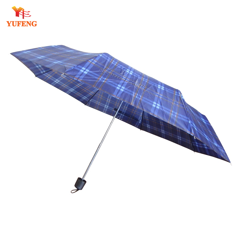 Low cost 3 fold umbrella with plaid polyester fabric