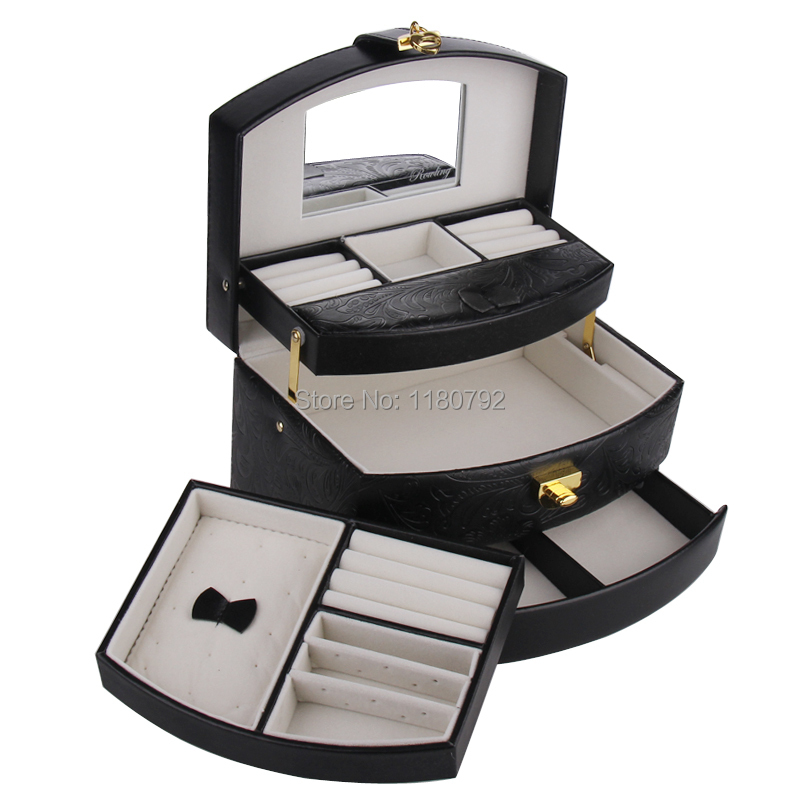 [ROWLING] Fashion Jewelry Boxes Jewellery Rings Necklace Display Case Organizer Faux Leather Glass Storage Box