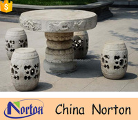 Garden carved elephant outdoor stone tables and benches NTS-B280A