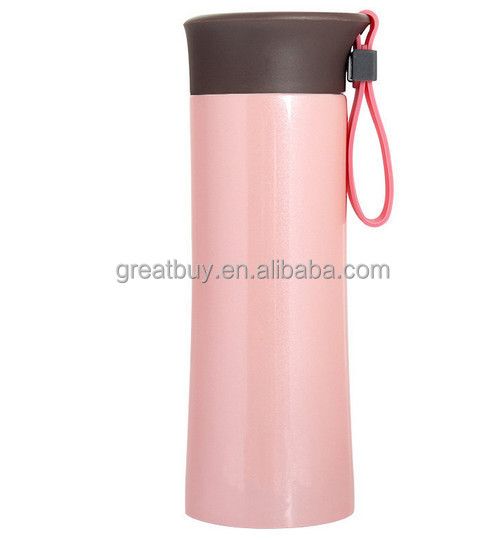 18/8 stainless steel food grade double wall insulated vacuum flask with silicone rope