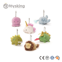 Kawaii Plush Small Animals Keychain Elephant Dragon Unicorn Lion Fish Octopus Stuffed Toys Custom with Brand Logo