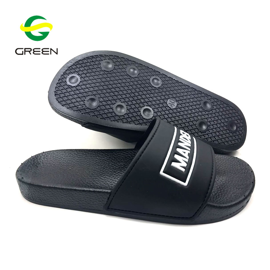 Greenshoe wholesale 2017 custom logo black slide sandal men black rubber <strong>slipper</strong>