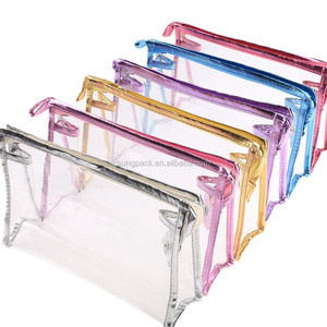 Waterproof Fabric PVC Zipper Bag For Packaging Airline Carry On Cosmetic Travel Toiletry Bag