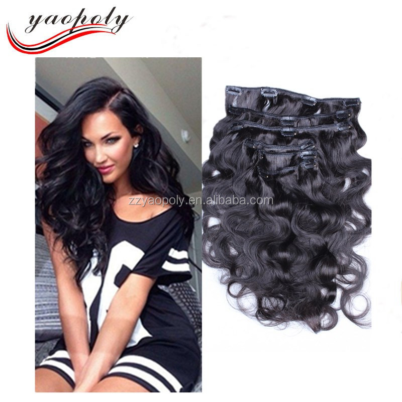 Unprocessed virgin hair body wave 1# clip in remy hair extensions 7 piece
