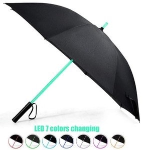 2018 New Inventions 7 Color Changing on Shaft LED Straight Umbrella