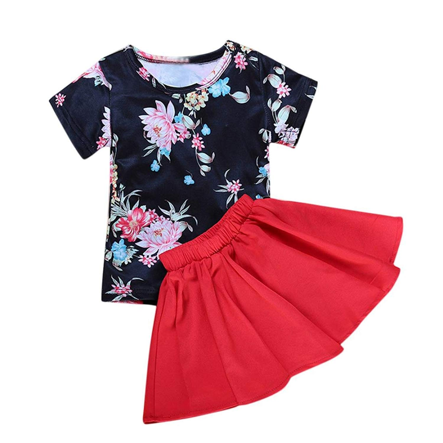 643d54315 Get Quotations · Girls Clothing Sets, Floral Girl Dress Short Sleeve Top  T-Shirt+Skirt Outfits