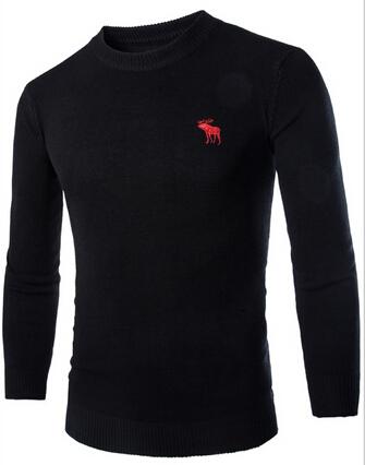 Весна лося вышивка мужчины футболки свитер приталенный чистый jumper свитер свободного покроя длинный рукав чистый цвет мужчины в съёмник одежда