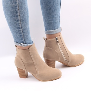 85bfc263796 Thick Clog Heel Ankle Boots Women Casual Plus Size Shoes Flock ...