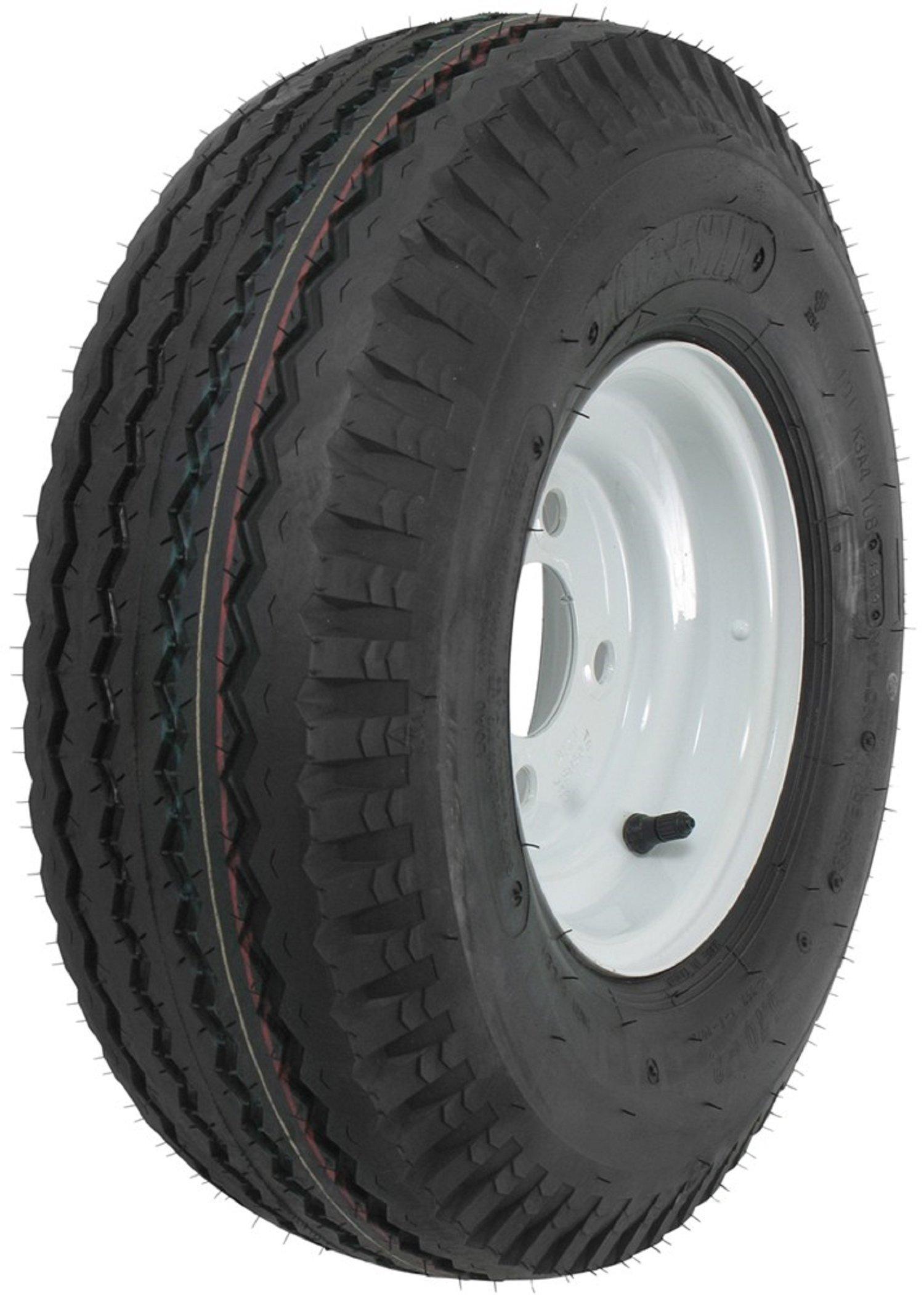 "eCustomRim Kenda K353 Trailer Tire & Rim 5.70-8 570-8 4H White Steel 6 Ply Load Range C 8"""