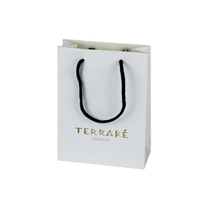 Wholesale Cheap Custom Personalized Print White Mini Paper Gift Shopping Bag With Handle