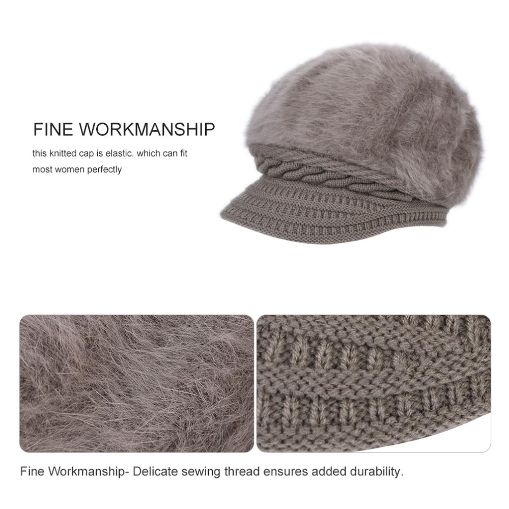 efae370ebe469 VBIGER Women Winter Hat Thickened Peaked Hat Warm Beret Brim Cap ...