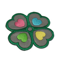 Wholesale customized multicolor embroidery Four-leaf clover patch for clothes