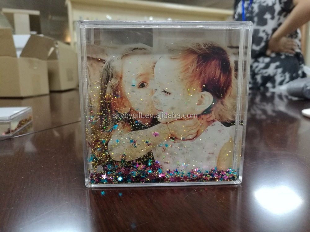 Christmas Gift Kids Square Promotional Dome photo frame water globe
