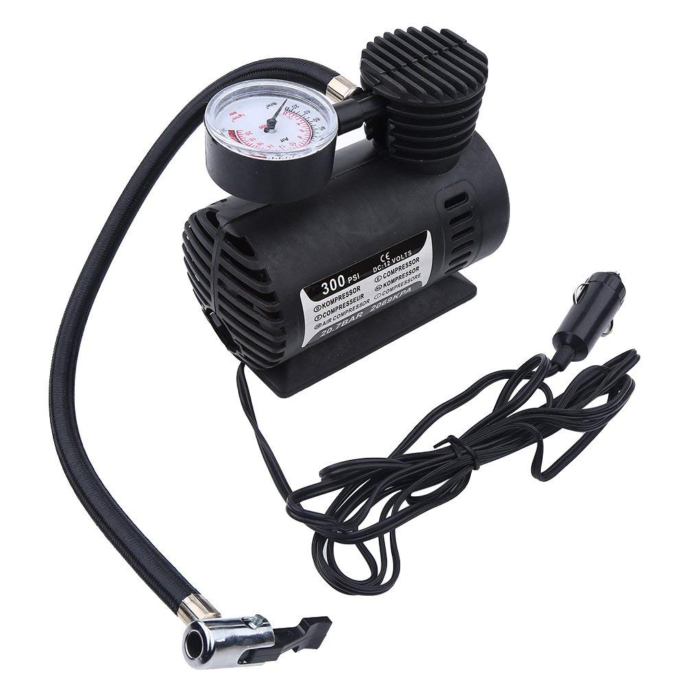 Asixx Mini Air Compressor, Portable Mini Air Compressor Electric Tire Infaltor Pump 12 Volt Car 300 PSI for Bicycles, Cars, Motorcycles, Tricycles, Electric Tires, Soccer, Basketball, etc