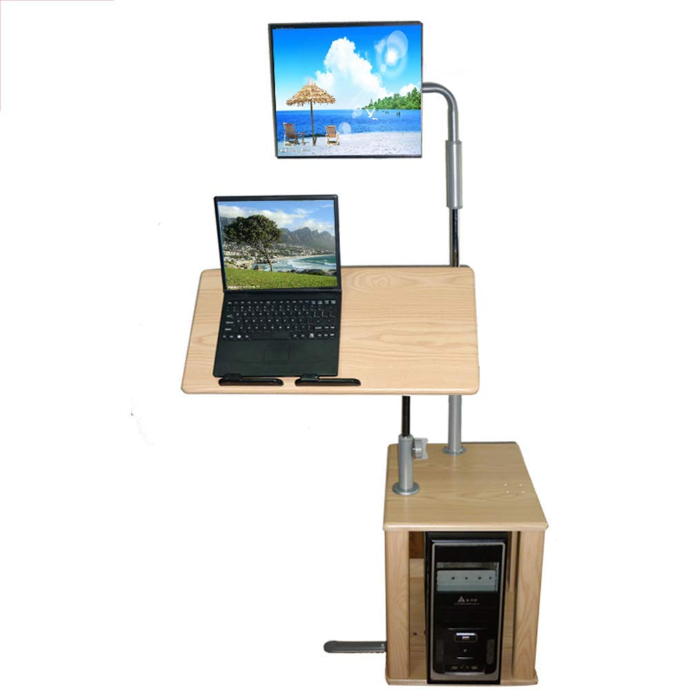 Stands DD Standing On The Computer Desk, Desktop Table Home Desk Mobile Lift Standing Computer Table -Convenient Table (Color : Gold Oak)