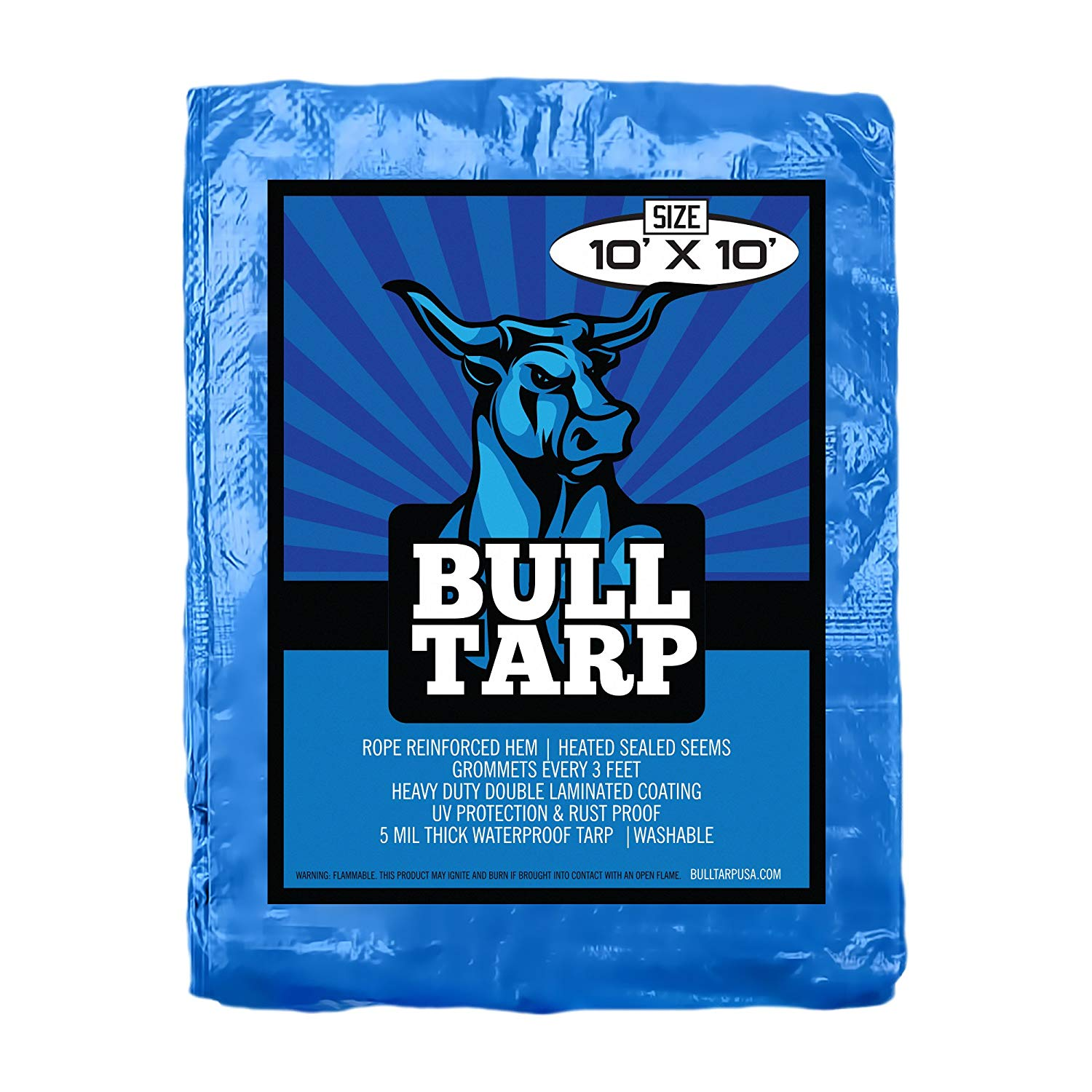 Blue Poly Tarp Cover 5 Mil Thick, Multi Purpose Waterproof Tarpaulin, UV Resistant, Reinforced Rip-Stop with Grommets Every 3 Feet. (10X10)