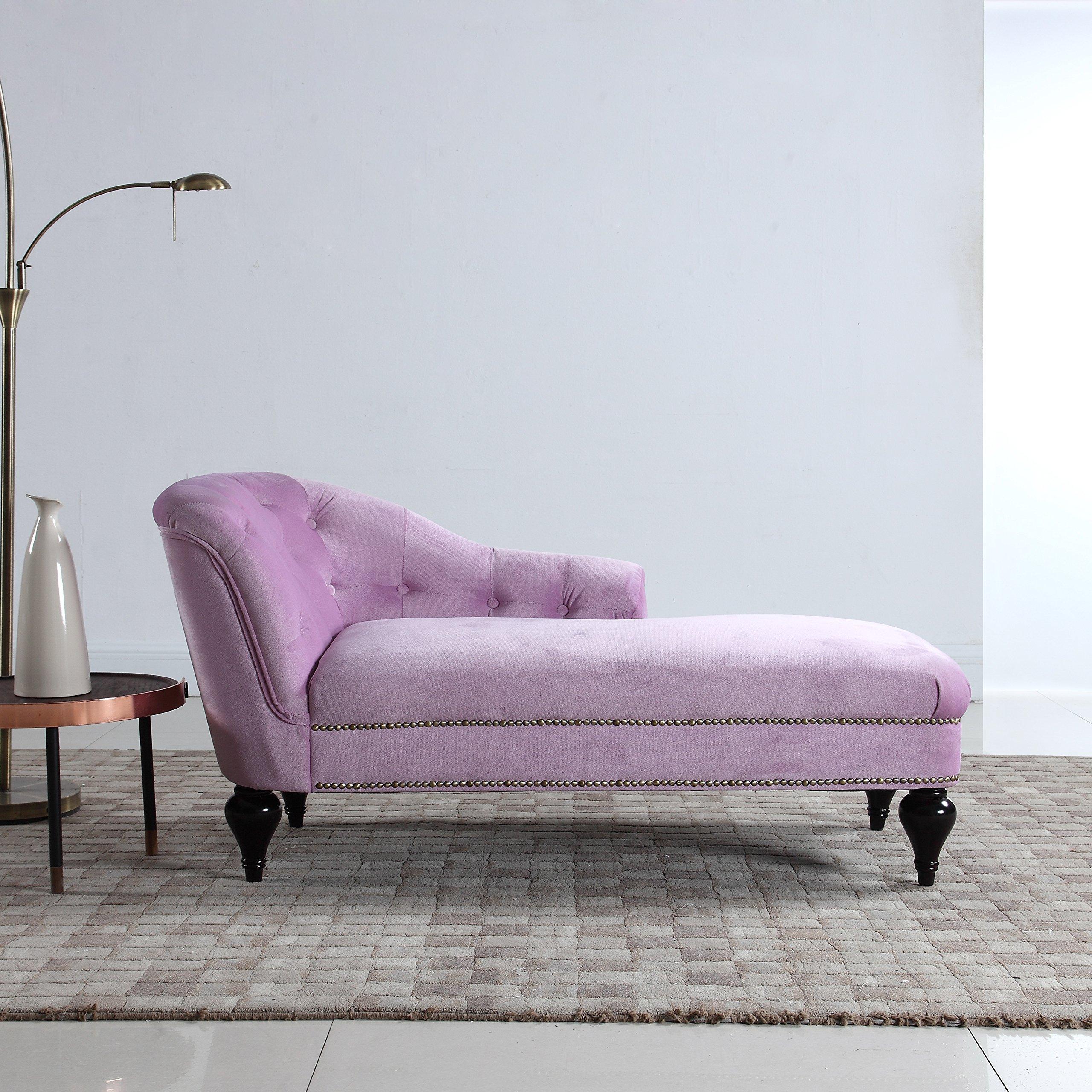 Divano Roma Furniture Modern and Elegant Kid's Velvet Chaise Lounge for Living Room or Bedroom (Light Grey)