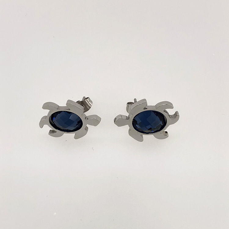 Hotsale  wholesale stainless steel turtle blue stone  pendant earrings set jewelry
