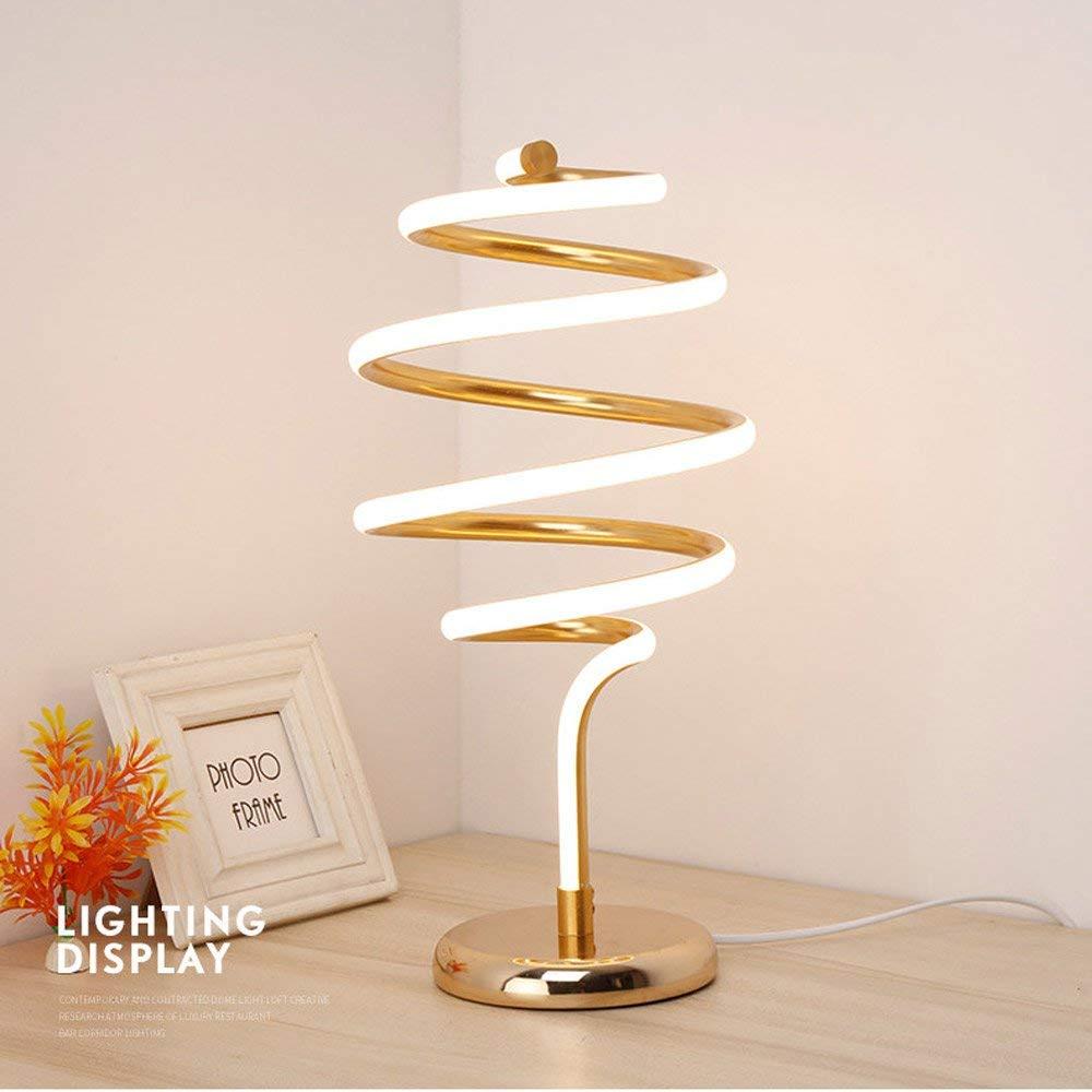 Alloy Led Spiral Tornado Table Light Creative Simple Modern Personality Desk Study Desk Lamp Desk Light Nordic Living Room Postmodern Fashion Bedside Desktop Light Reading Lamp (Color : Gold)