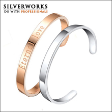 Silverworks plain blank 316L stainless steel bangle bracelet for laser engrave