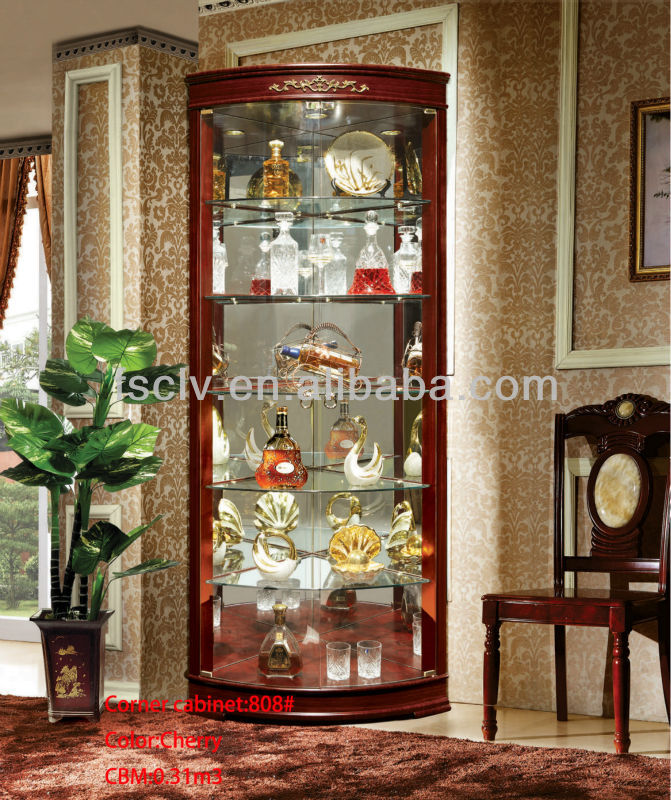Luxury living room modern wooden glass wine corner bar cabinet furniture