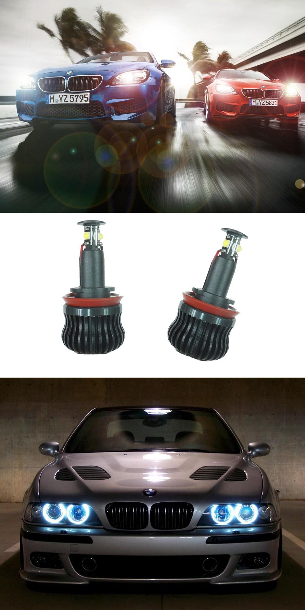 BMW E30 E32 E34 Faros Delanteros Conversión Negro-Negro Cruza fina