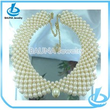 Fashion hot sale bridal design fake white imitation pearl collar for lady
