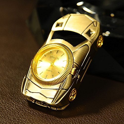 Multifunction Cigarette Lighter Gold Sport Car Shaped Quartz Watch For Men, Windproof Jet Torch Flame Butane Gas Lighter