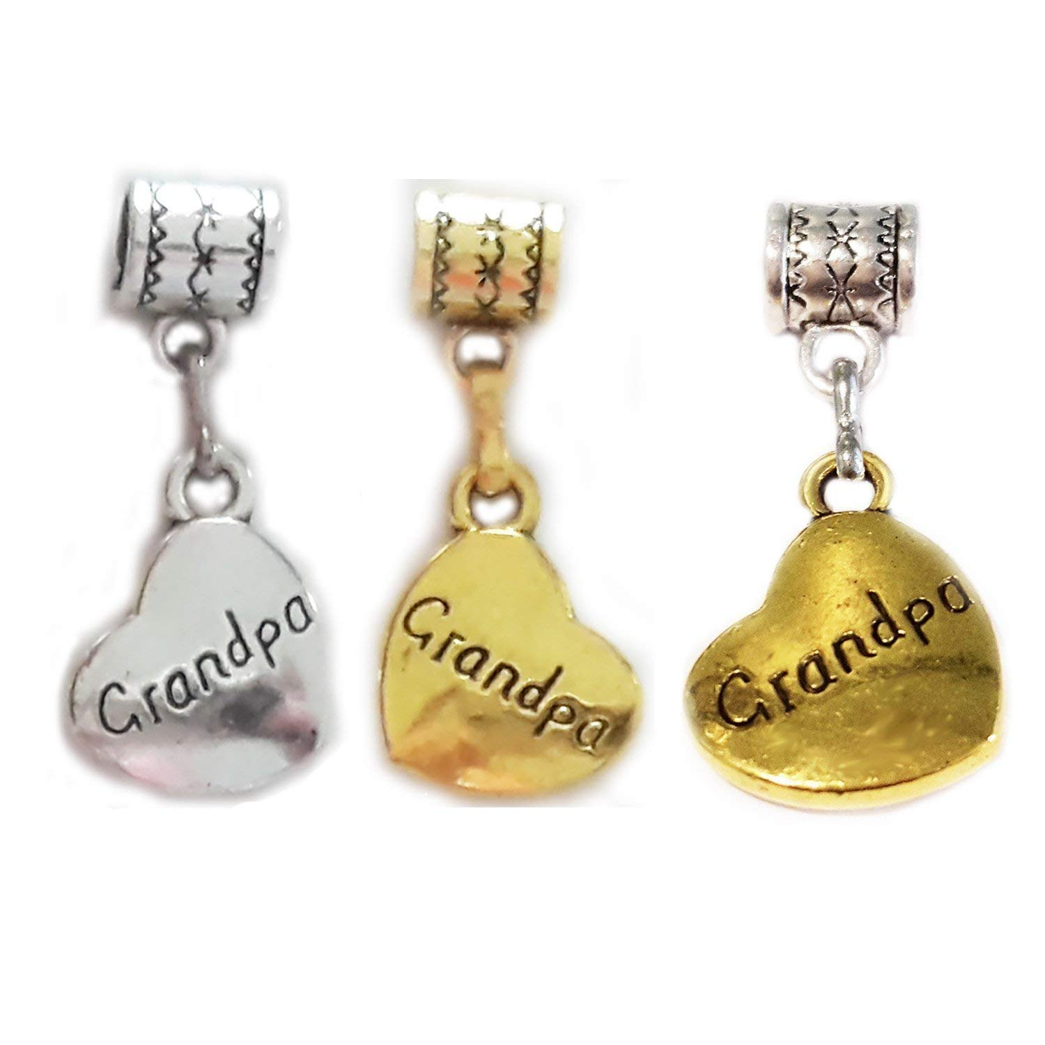 """Grandpa Charm"" - all silver, all gold or 2-tone Silver and Gold Heart-shaped Hanging charm by Mossy Cabin for large hole style charm bracelet, or add to a neck chain, pendant necklace or key chain"