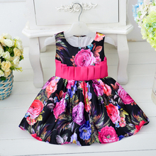 Most Popular Commercial Sleeveless vest Chinese wind peony flower printing fancy pakistani children frocks