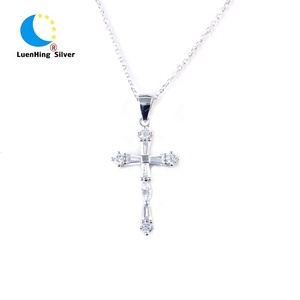 Unique women charm necklace zircon cross 925 silver jewelry pendant